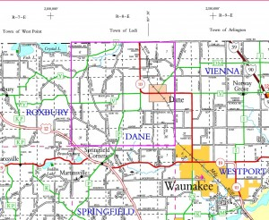 Town of Dane Location in NW Dane County, WI (Click for Larger Map)