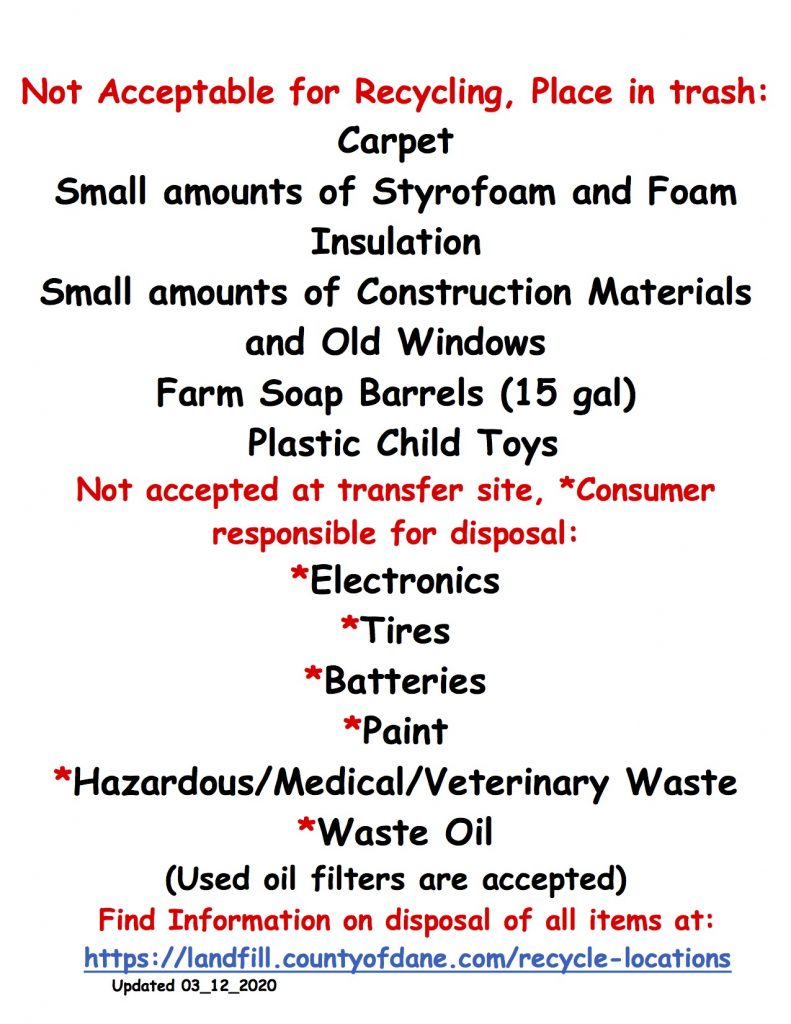 Town of Dane Recycling Guidelines